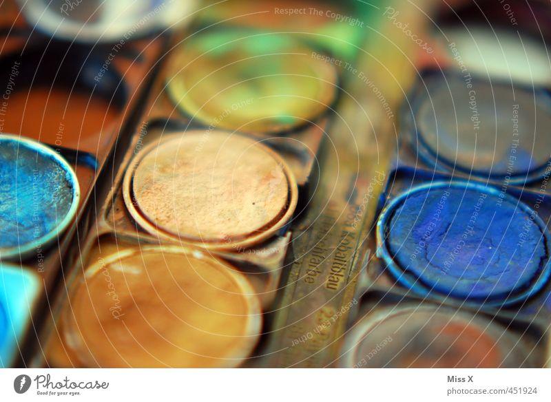 braun / blau Freizeit & Hobby Kunst trocken malen Farbkasten Wasserfarbe eingetrocknet alt Farbfoto mehrfarbig Nahaufnahme Muster Strukturen & Formen