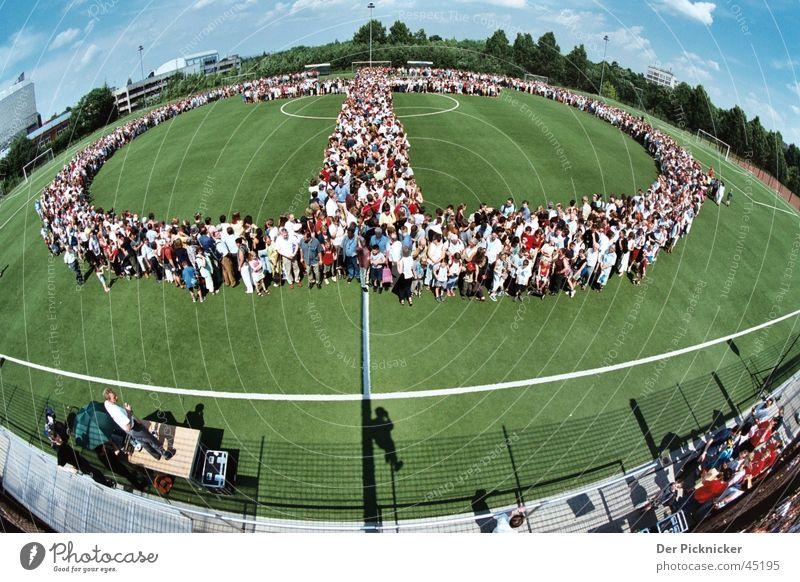 OneFaith Mensch blau grün Menschengruppe Party Erde Stadion Feste & Feiern