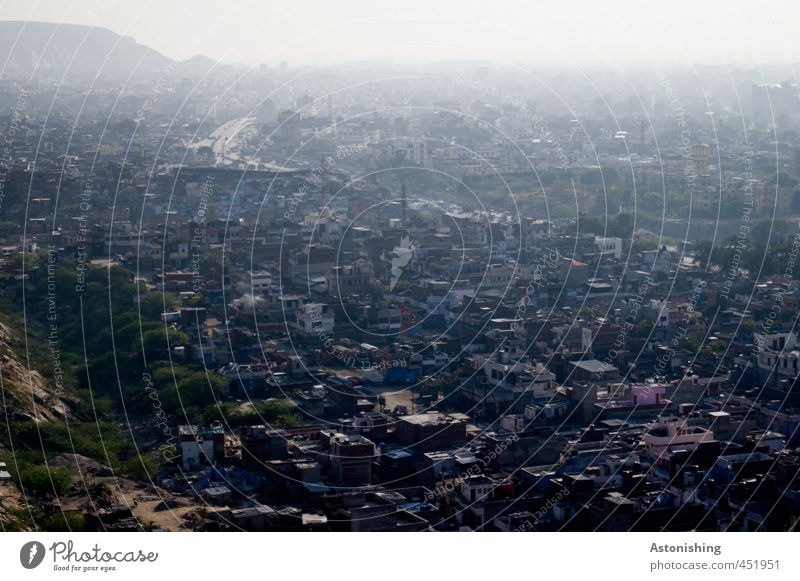 big city Umwelt Natur Landschaft Pflanze Baum Berge u. Gebirge Gipfel Jaipur Rajasthan Indien Asien Stadt Stadtzentrum bevölkert Haus Hütte Bauwerk Gebäude