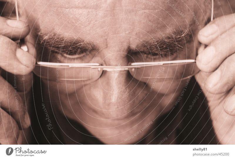 Old Man Mann Gesicht Senior lesen Brille Großvater Mensch Männlicher Senior