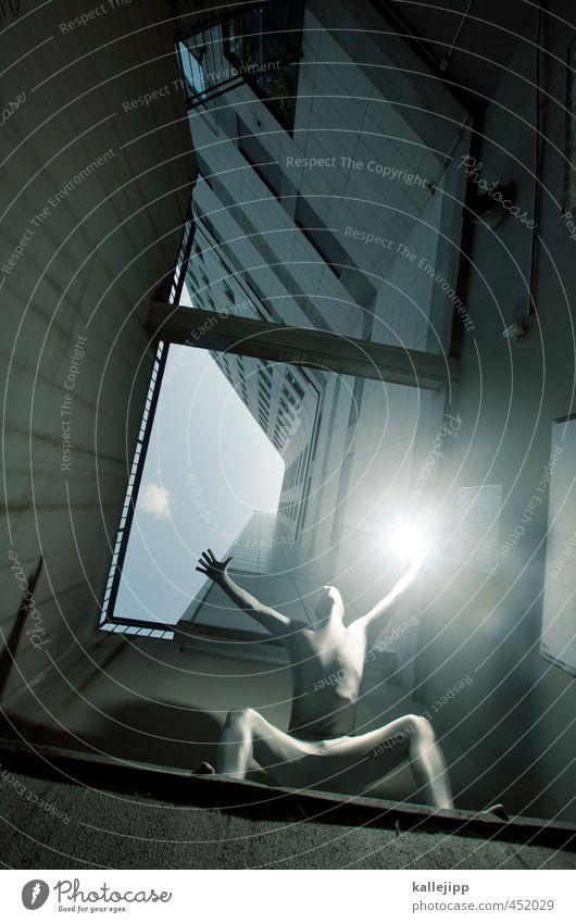 flash gordon Mensch maskulin Mann Erwachsene Körper 1 30-45 Jahre Stadt Hauptstadt Hochhaus Mauer Wand krabbeln Held Dynamik Lichterscheinung Kraft superkräfte
