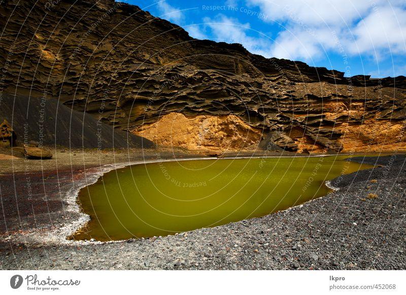 Himmel Natur Ferien & Urlaub & Reisen blau grün Sommer weiß Meer Landschaft Wolken Strand gelb Küste Stein braun Felsen