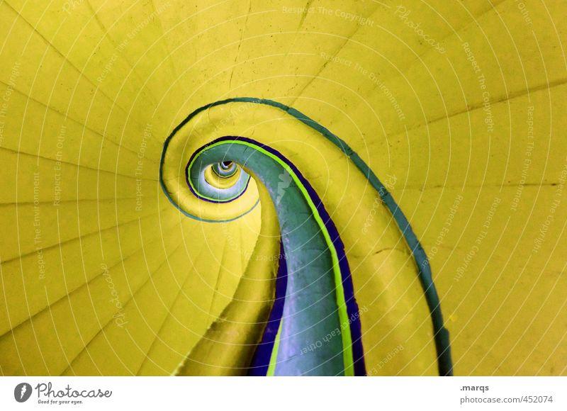 Gelb Lifestyle elegant Stil Design Innenarchitektur Treppenhaus Linie außergewöhnlich oben rund blau gelb Farbe Perspektive Unendlichkeit Schneckenhaus