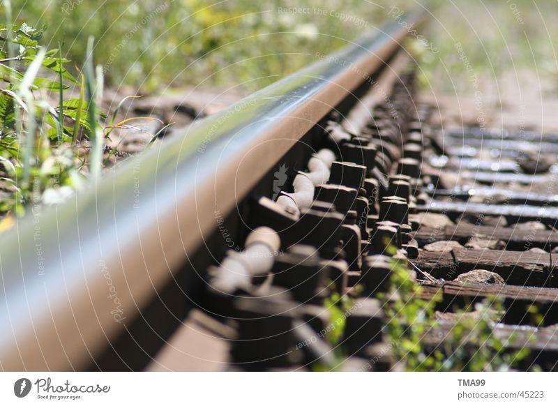 endlos Gleise Unendlichkeit Gras Verkehr Eisenbahn DB Ferne Metall