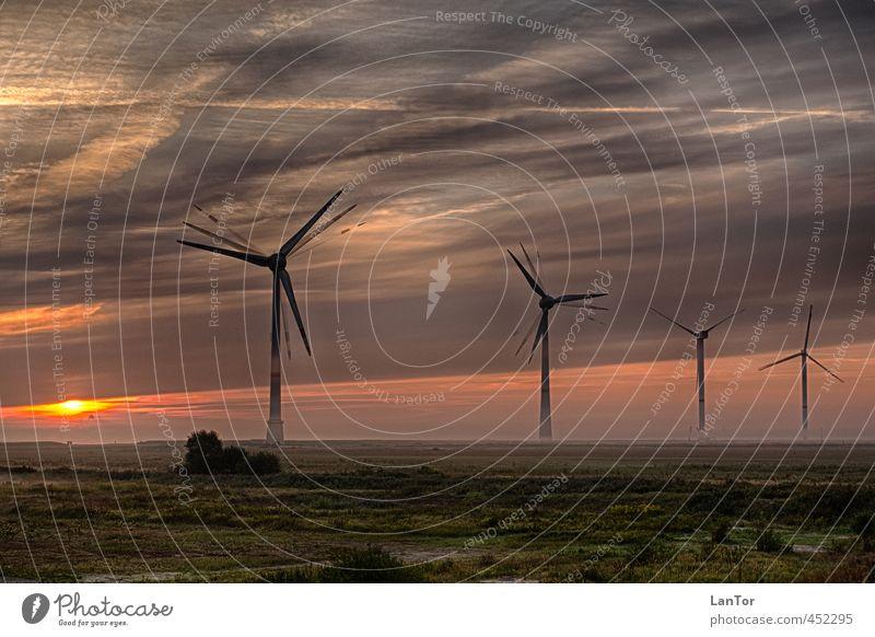 Erneuerbare Energien Energiewirtschaft Windkraftanlage Umwelt Natur Landschaft Sonnenaufgang Sonnenuntergang Nebel Deutschland Stimmung Business