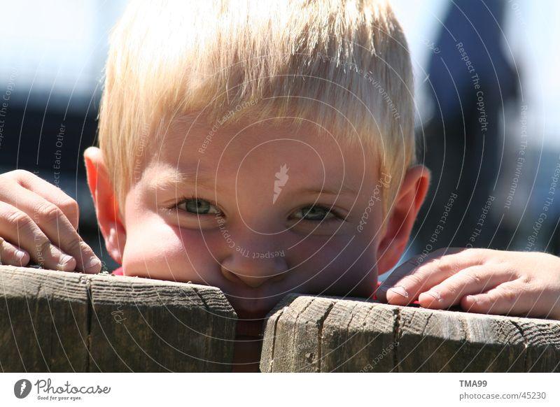 Huhu Kind Hand Baumstamm Spielplatz Porträt Mensch Teile u. Stücke Junge Auge