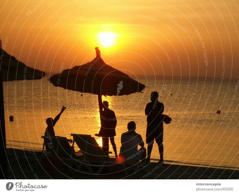 Sonnenuntergang Menschengruppe Strand