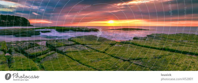 Sonnenaufgang am Strand von Turimetta Landschaft Wasser Wolken Sonnenuntergang Frühling Sommer Herbst Winter Wetter Schönes Wetter Moos Felsen Wellen Küste Meer