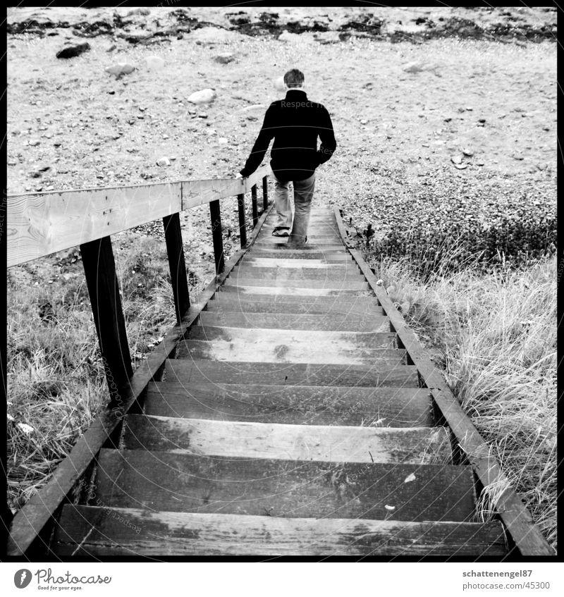 leaving Mann weiß Strand Ferien & Urlaub & Reisen schwarz Einsamkeit 2 Treppe Insel Rahmen Ziffern & Zahlen Skandinavien Dänemark Grauwert