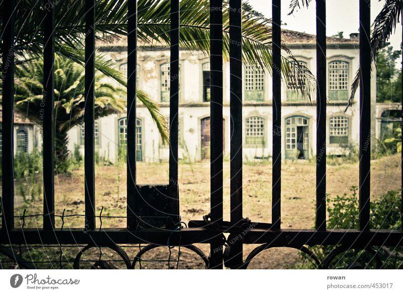 verlassene quinta alt Haus Architektur Gebäude Fassade trist geschlossen kaputt retro historisch Burg oder Schloss Bauwerk gruselig Tor Unbewohnt Palme