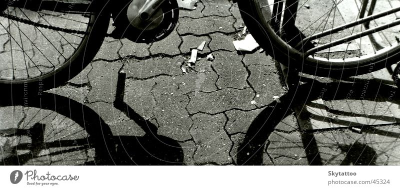 Ausschnitt weiß schwarz Stein Fahrrad Technik & Technologie Rad Kette Fahrzeug Hälfte Pedal Speichen Elektrisches Gerät