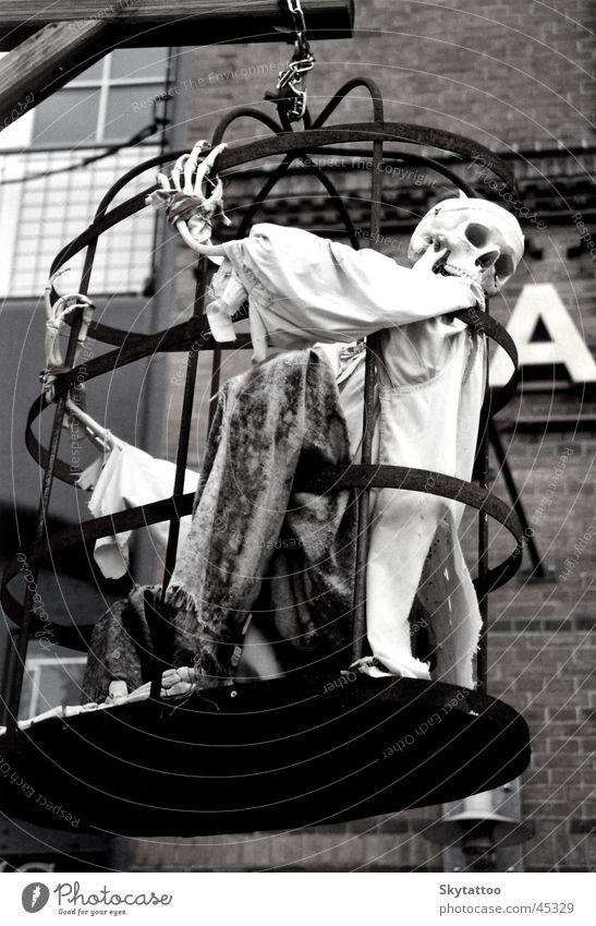 Gespenst Geister u. Gespenster Käfig Eisen Ausstellung gruselig Hamburg Dungeon Außenaufnahme Schädel gefangen Schwarzweißfoto Veranstaltung historisch