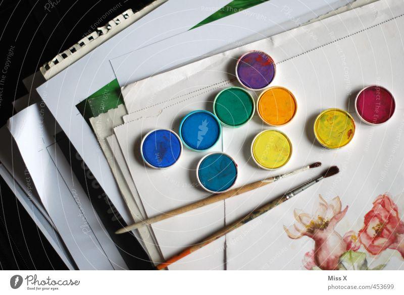 Kunstwerke Freizeit & Hobby Künstler Maler Gemälde mehrfarbig Farbe Kreativität Pinsel Farbkasten Aquarell Farbstoff Wasserfarbe Papier Papierstapel Stapel