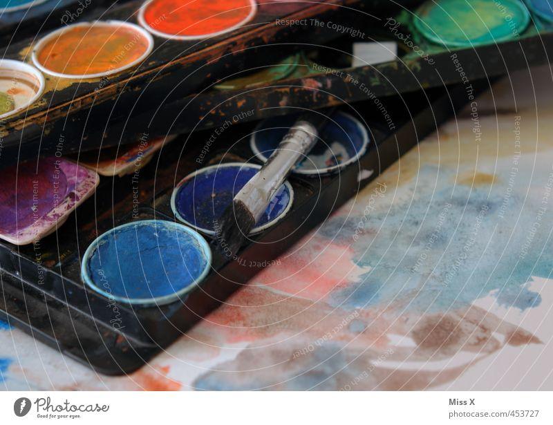 Bunter Freizeit & Hobby Kunst Kunstwerk Gemälde dreckig nass mehrfarbig Farbe Kreativität malen Pinsel Farbkasten Wasserfarbe Farbstoff Aquarell Papier bemalt