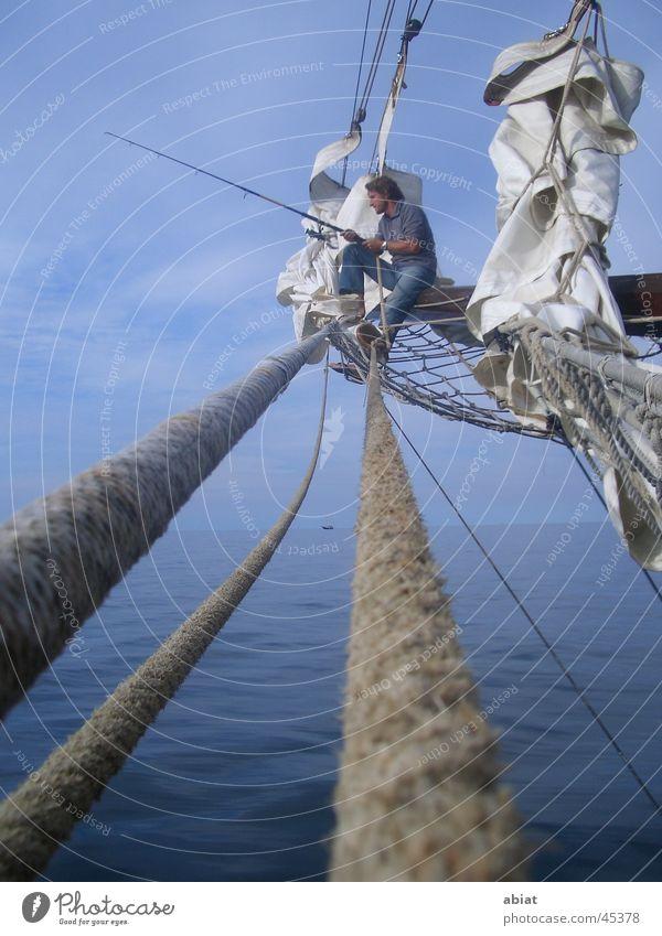 entspannung pur Angeln Segeln Erholung Segelschiff Meer Schifffahrt Wasser Ostsee Himmel Seil Netz