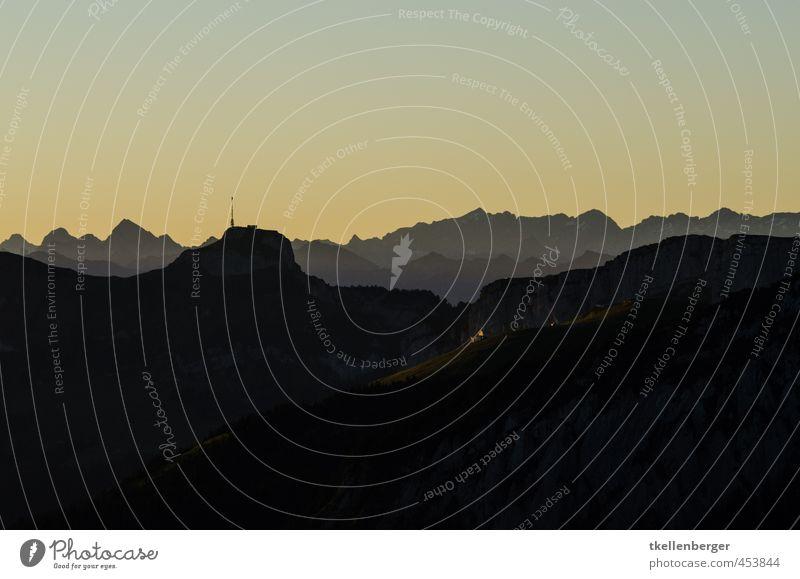Silhouette Natur Felsen Alpen Berge u. Gebirge Alpstein Kanton Appenzell Appenzellerland Hoher Kasten Schweiz Voralpen Gipfel Sport Tourismus Klettern Seilbahn
