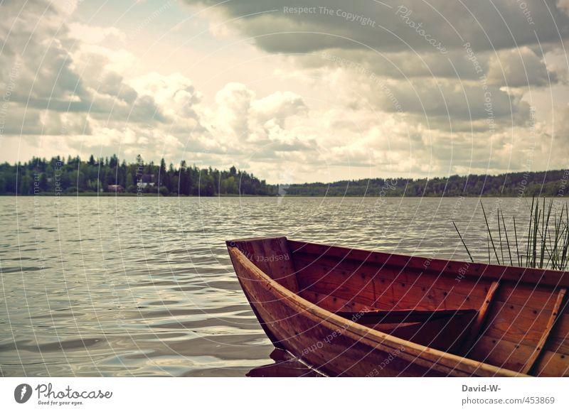 auf zu neuen Ufern Erholung ruhig Abenteuer Ferne Insel Natur Landschaft Wasser Wolken Wetter Küste Seeufer Holz entdecken Ferien & Urlaub & Reisen braun grau