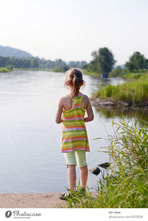 die Weser Mensch Kind Natur Pflanze Sommer Landschaft Mädchen Umwelt feminin Gras Schule Kindheit Klima Schönes Wetter lernen Kindheitserinnerung