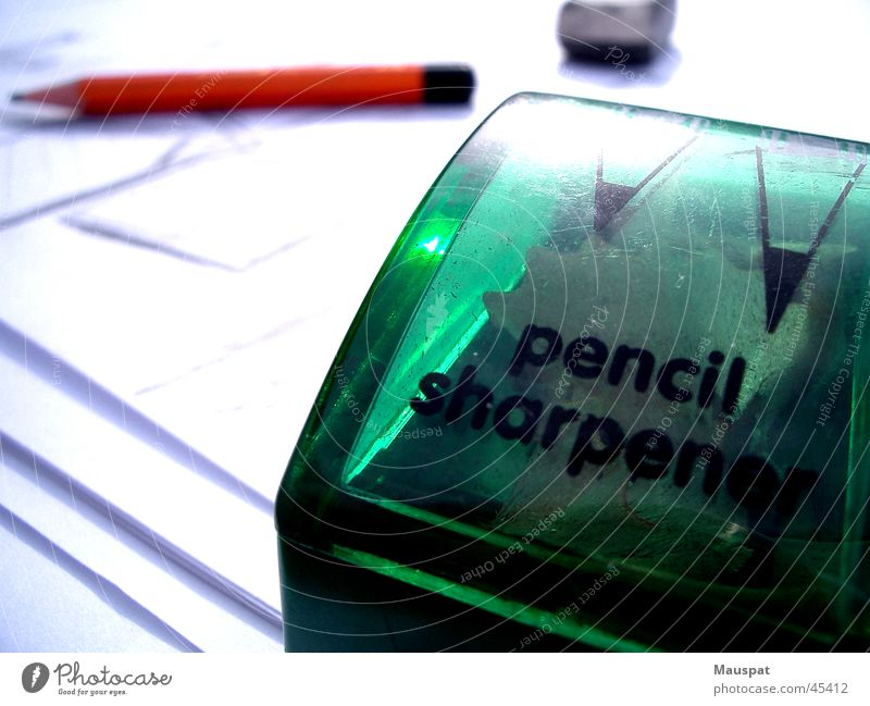 Endlich Fertig Gemälde Bleistift Anspitzer Radiergummi Blatt Graphit Schreibwaren Erleichterung Zufriedenheit Büro
