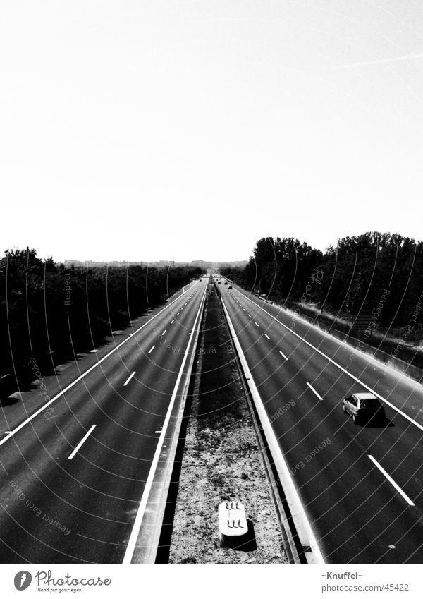 Autobahn Schnellstraße Schwarzweißfoto PKW Straße Wege & Pfade