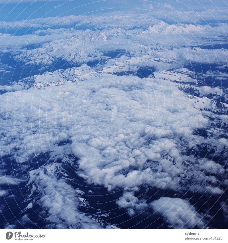 Über den Wolken (und Alpen) Erholung ruhig Ferien & Urlaub & Reisen Abenteuer Ferne Freiheit Umwelt Natur Schnee Berge u. Gebirge Luftverkehr im Flugzeug