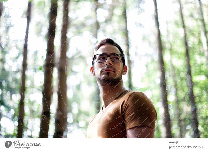 Licht & Schatten maskulin Junger Mann Jugendliche Gesicht 1 Mensch 18-30 Jahre Erwachsene Wald T-Shirt Brille schön Farbfoto Außenaufnahme Tag