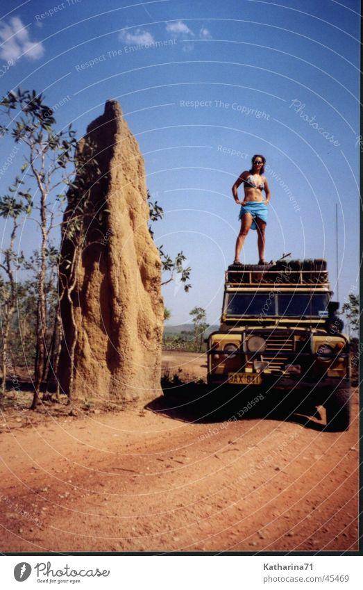 Australien Ferien & Urlaub & Reisen Bikini Nest Geländewagen Rucksacktourismus Termitenhügel