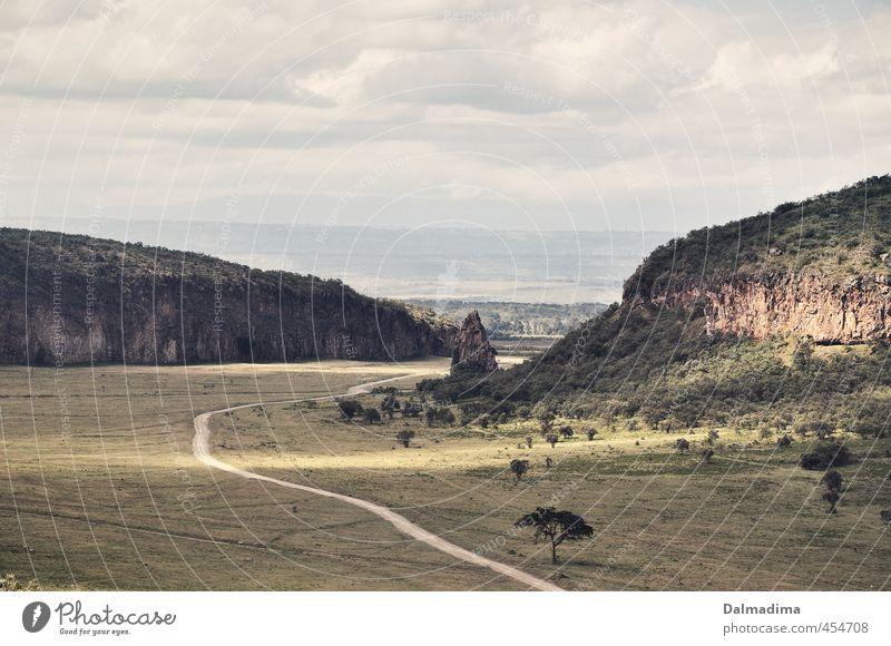 Kenia / Hells Gate Nationalpark Umwelt Natur Landschaft Steppe Afrika Menschenleer Park Umweltschutz Wolkenhimmel Wiese Fußweg Safari Ferien & Urlaub & Reisen