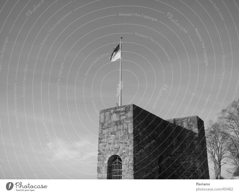 Schlossturm mit Fahne Baum Einsamkeit Herbst Architektur Fahne Turm Burg oder Schloss Gipfel Denkmal historisch Ruine Fahnenmast Festung Ritter Mittelalter