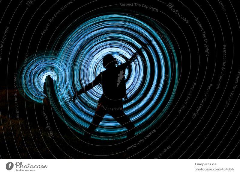 Nachtgymnastik Mensch maskulin feminin Frau Erwachsene Mann 2 30-45 Jahre Kunst Maler Bewegung drehen leuchten stehen retro rund verrückt wild blau schwarz