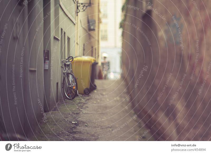Gasse Haus Dorf Stadt Stadtzentrum Altstadt Menschenleer Mauer Wand Fassade braun gelb gold Fahrrad Müllbehälter Tilt-Shift Farbfoto Gedeckte Farben