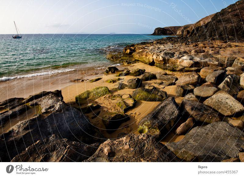 Himmel Natur Ferien & Urlaub & Reisen weiß Sommer Meer Erholung Landschaft Wolken Strand gelb Küste Stein Sand Felsen Wasserfahrzeug