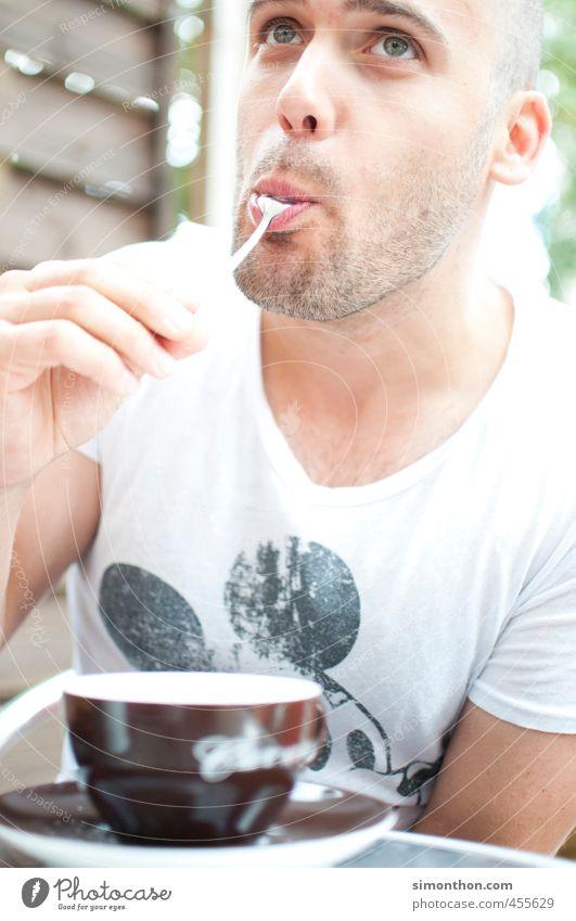 Das schmeckt Liebe Garten Freizeit & Hobby maskulin Zufriedenheit Häusliches Leben Lifestyle genießen Studium Kaffee trinken Bart Student lecker Verliebtheit