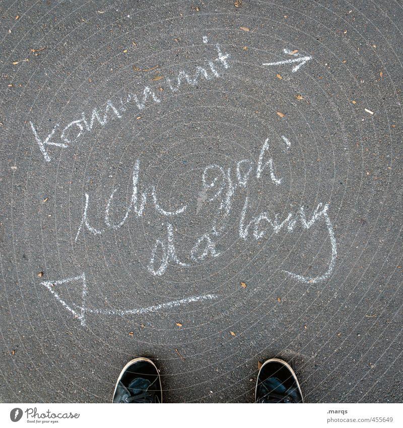Unabhängigkeit Straße Wege & Pfade gehen Perspektive Schriftzeichen Hinweisschild Zeichen Pfeil Mut Willensstärke Erwartung Politik & Staat links Orientierung