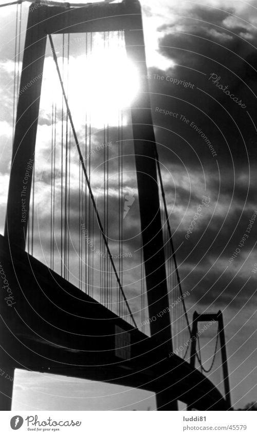 Rheinbrücke Emmerich Gegenlicht schwarz weiß Architektur Brücke