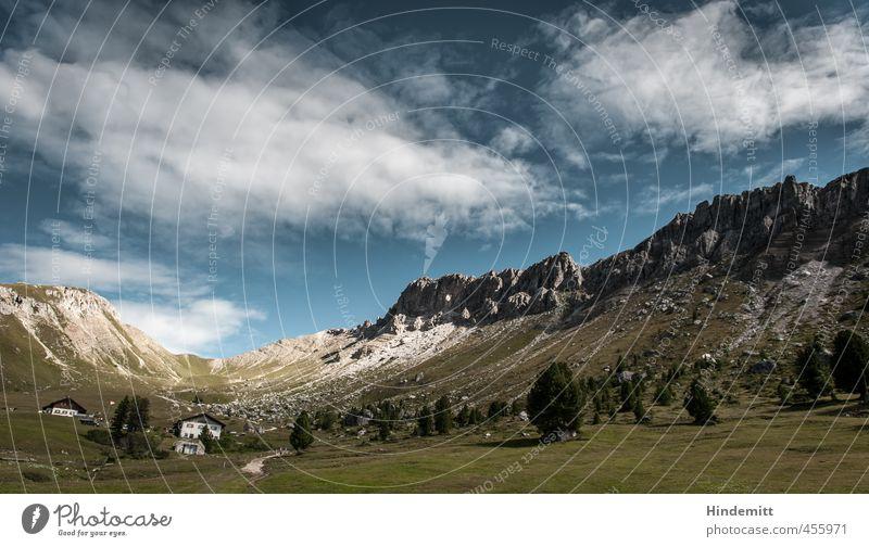 Gampenalm Himmel Natur Ferien & Urlaub & Reisen blau grün Sommer Baum Wolken Wald Umwelt Berge u. Gebirge Gras grau Felsen Zufriedenheit groß