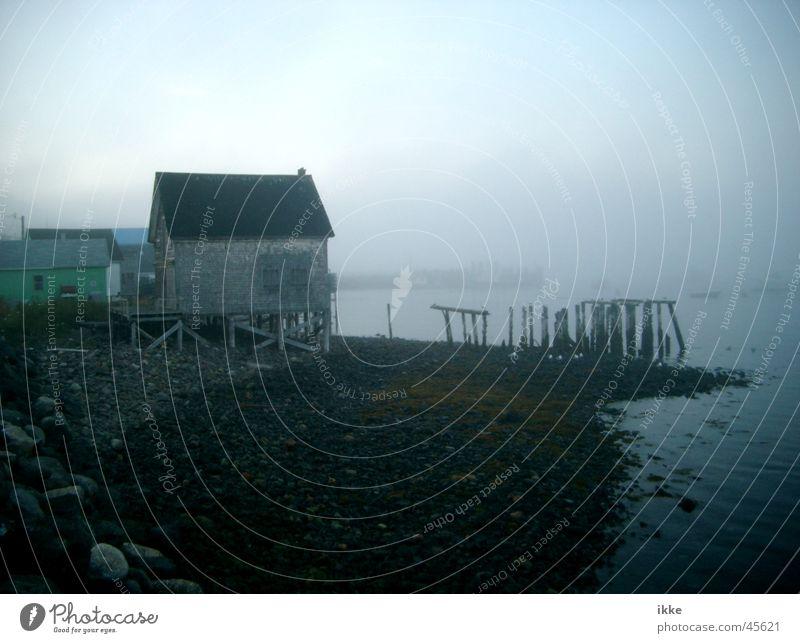 Bootshaus im Nebel Wasser Meer Küste verfaulen Hütte Steg Kanada Pfosten verwittert Fischereiwirtschaft verrotten abstützen Nova Scotia