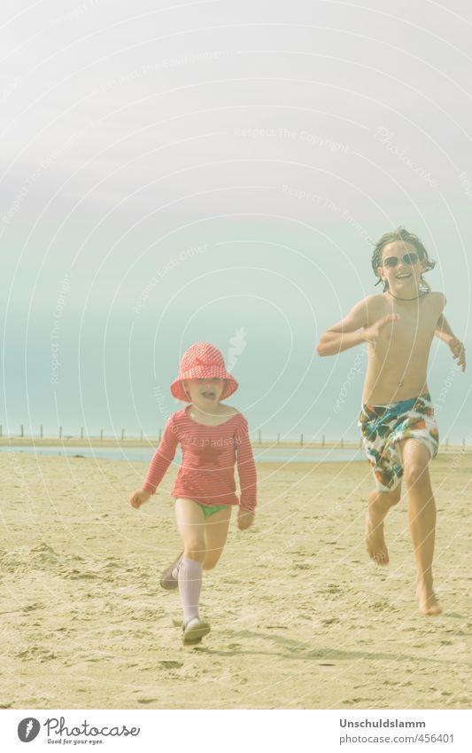 ...den Letzten beißen die Möwen! Mensch Kind Himmel Ferien & Urlaub & Reisen Sommer Meer Mädchen Freude Wolken Strand Leben Junge Spielen lachen Glück
