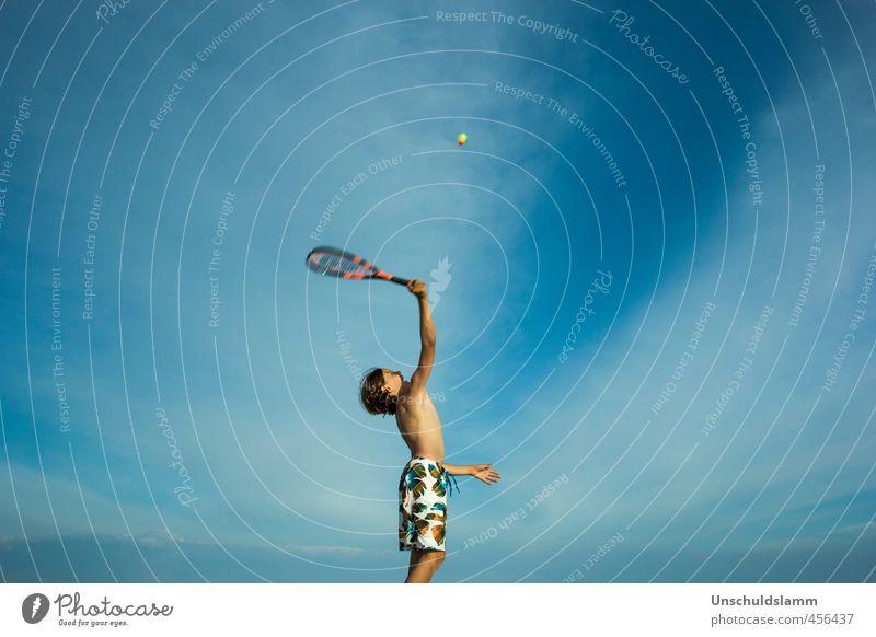 Speedminton Mensch Kind Himmel Ferien & Urlaub & Reisen blau Sommer Freude Wolken Strand Sport Bewegung Spielen Junge maskulin Gesundheitswesen Freizeit & Hobby