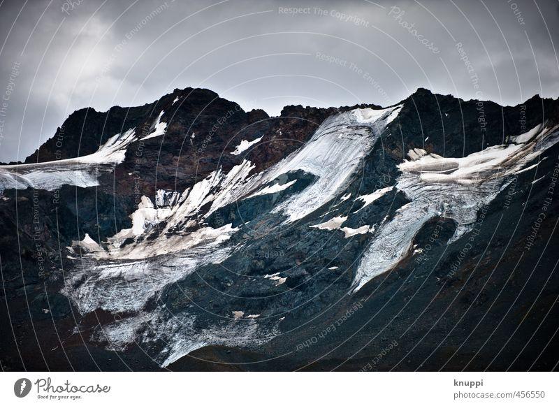 Gletscher Umwelt Natur Landschaft Urelemente Wasser Himmel Wolken Sonnenlicht Sommer Herbst Klimawandel schlechtes Wetter Schnee Felsen Alpen Berge u. Gebirge