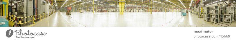 Panorama einer leeren Halle groß Industrie Maschine Lagerhalle Fabrikhalle Panorama (Bildformat) Produktion Kunstwerk Fertigungsanlage Montagehalle