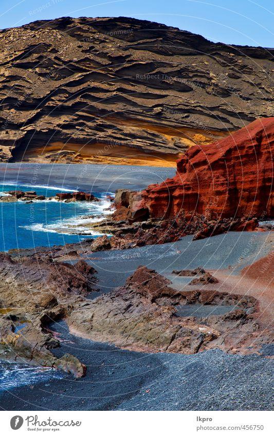 o Lanzarote Spanien Moschus Teich Felsen Stein Himmel Ferien & Urlaub & Reisen Tourismus Ausflug Sommer Strand Meer Insel Wellen Natur Landschaft Sand Wolken