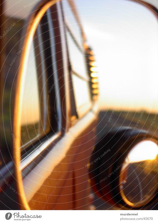 seitenspiegel Himmel orange Verkehr fahren Spiegel Bus Landstraße Abendsonne