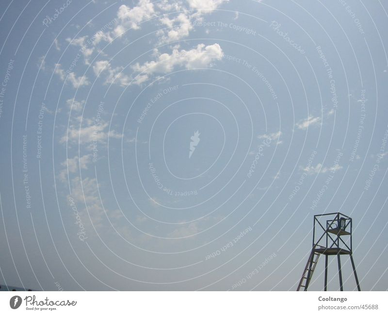 Badeturm Himmel blau Strand Ferien & Urlaub & Reisen Wolken Europa Turm Bademeister