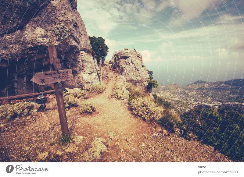 Immer heiter weiter Natur Ferien & Urlaub & Reisen Sommer Einsamkeit Landschaft Umwelt Berge u. Gebirge Küste Erde Idylle Schilder & Markierungen Hinweisschild