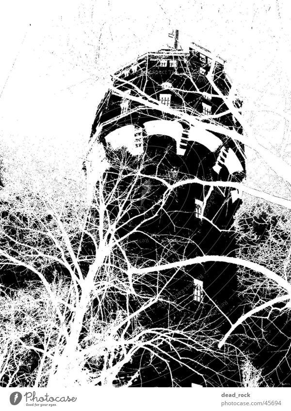 Rapunzel Wasser weiß schwarz Stimmung Architektur Turm seltsam Märchen Reaktionen u. Effekte unheimlich