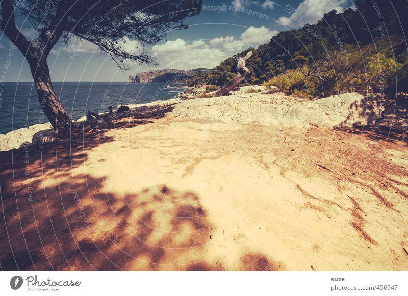 Weit und breit Ferien & Urlaub & Reisen Sommer Meer Berge u. Gebirge Umwelt Natur Landschaft Urelemente Erde Sand Himmel Wolken Wärme Baum Küste trocken gelb