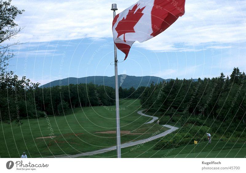 Golf in Canada Golfplatz Fahne Kanada grün flattern Sport Rasen Berge u. Gebirge Wind golfpath