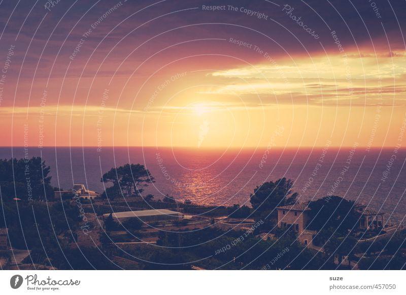 Sunset Ferien & Urlaub & Reisen Sonne Häusliches Leben Haus Natur Landschaft Himmel Wärme Küste Bucht Meer Gebäude fantastisch Romantik Fernweh Idylle Bergdorf