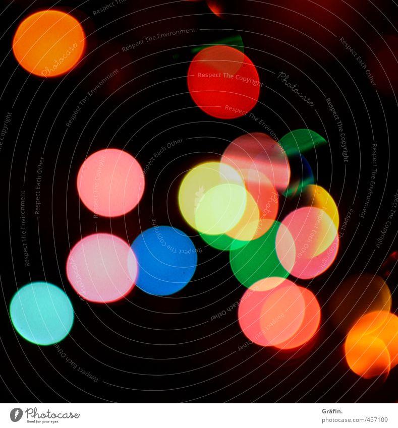 Lichtkonfetti blau grün rot schwarz gelb träumen glänzend leuchten Dekoration & Verzierung Romantik Kitsch kreisrund Lichterkette